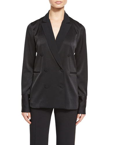 Adler Double-Breasted Satin Blazer Top, Black