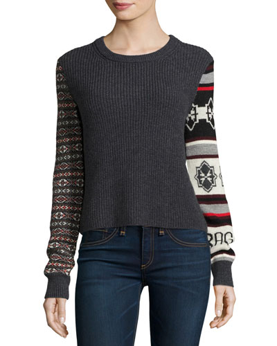 Brigitte Ribbed Wool Pullover Sweater, Charcoal