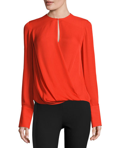 Max Long-Sleeve Silk Blouse, Fiery Red
