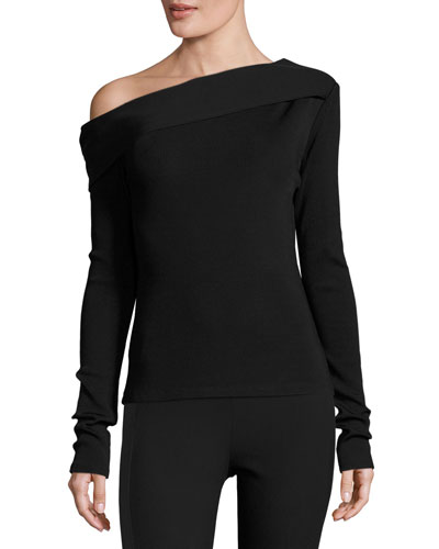 Carmen Long-Sleeve Asymmetric Jersey Top, Black