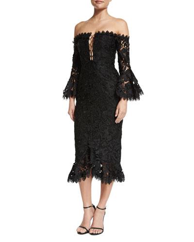 Botanical Off-the-Shoulder Lace Cocktail Dress