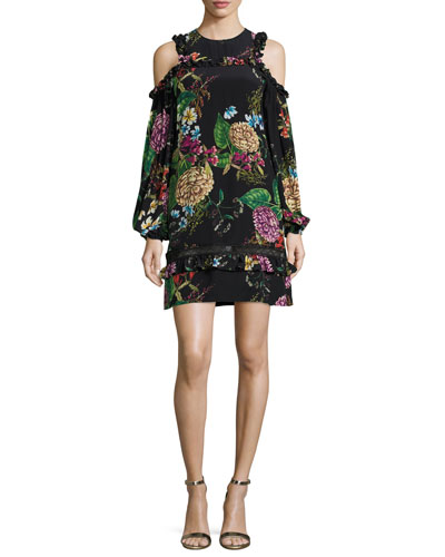 Dahlia Floral-Print Ruffle Mini Dress