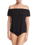 Kris Off-the-Shoulder Tankini Swim Top, Black