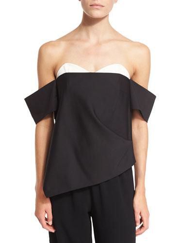 Agathe Layered Off-the-Shoulder Corset Top, Black Multi