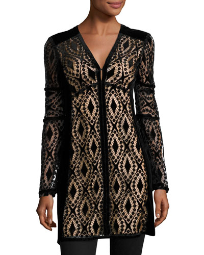 Long-Sleeve Velvet Lace Tunic, Black