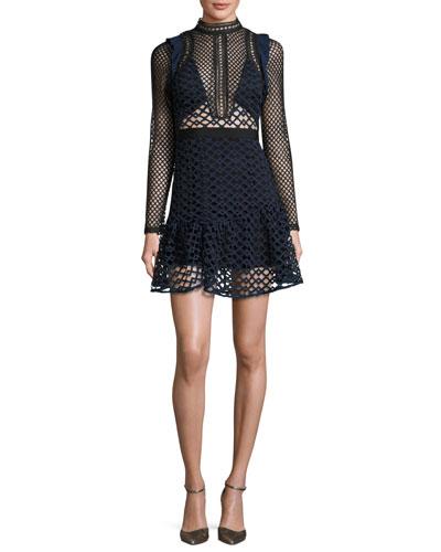 Hall Geometric-Lace Mini Dress