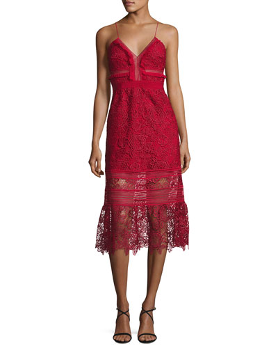 Sleeveless Floral-Lace Midi Dress, Raspberry