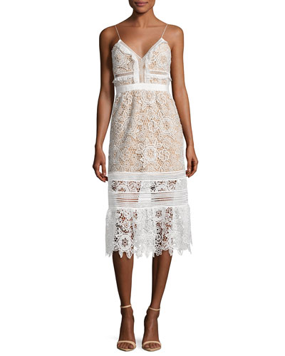 Sleeveless Floral-Lace Midi Dress, White