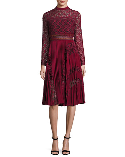 Medallion-Lace Midi Dress w/Plissé Skirt, Burgundy