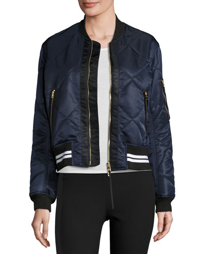 Satin Quilted Bomber Jacket, Navy