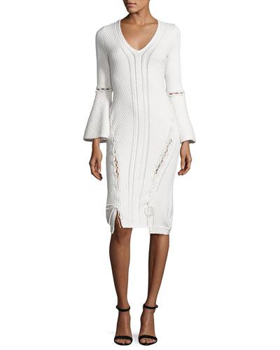 Lace-Up Knit V-Neck Dress, Ivory