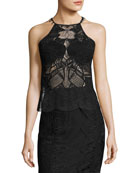 Sleeveless Lace Scalloped-Edge Top, Black