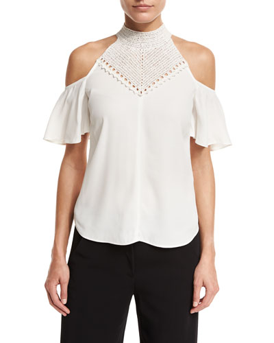 Rora Cold-Shoulder Chiffon Top, White/Gold