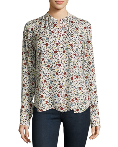 Rey Long-Sleeve Floral Silk Top, White/Multicolor
