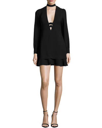 Faye Stretch Crepe Mini Dress, Black