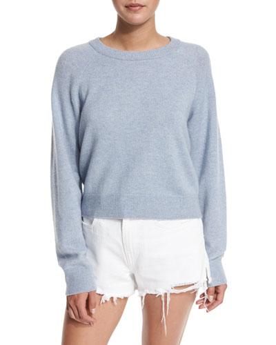 Cropped Raglan Wool-Blend Sweater, Chambray