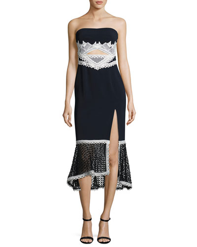 Windowpane-Lace Strapless Midi Dress