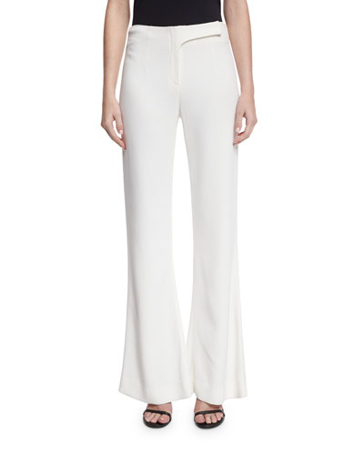 Flat-Front Flare-Leg Pants, Ivory