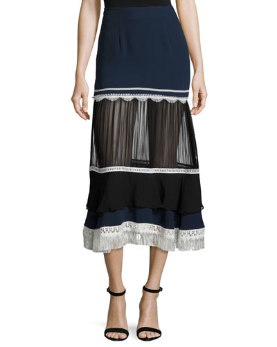 Tiered Fringe Silk Midi Skirt