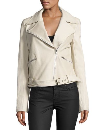 Duvall Leather Moto Jacket, Stucco