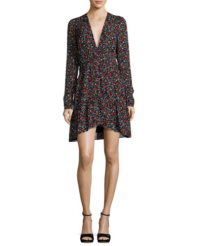 Renata Long-Sleeve Floral Silk Mini Dress
