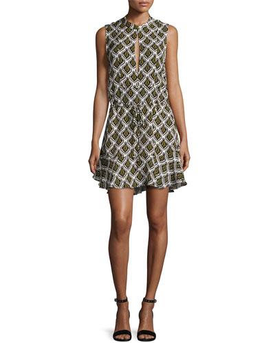 Calder Sleeveless Damask Mini Dress, Black/Yellow
