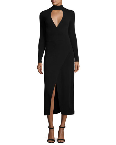 Rojo Long-Sleeve Ponte Midi Dress, Black