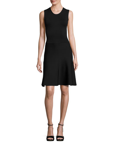 Este Sleeveless Fit-and-Flare Scuba Dress, Black