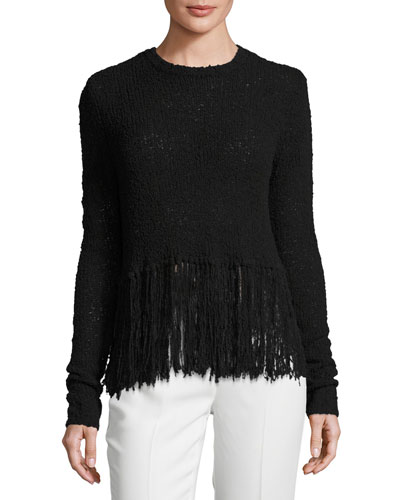 Overlap-Back Fringe Sweater, Black