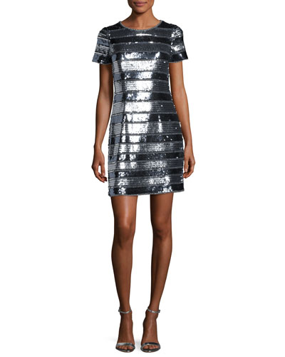 Short-Sleeve Embellished Banded Cocktail Dress, Gunmetal