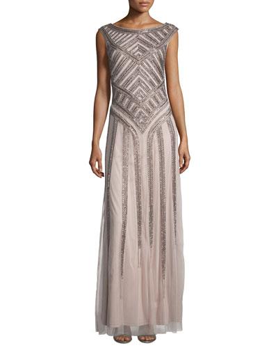 Sleeveless Beaded Tulle Column Gown, Light Mink