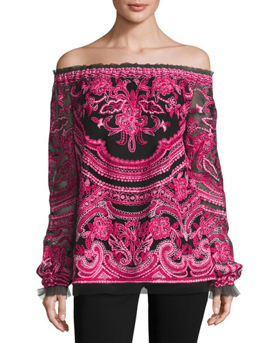 Embroidered Off-the-Shoulder Long-Sleeve Blouse, Black/Fuchsia