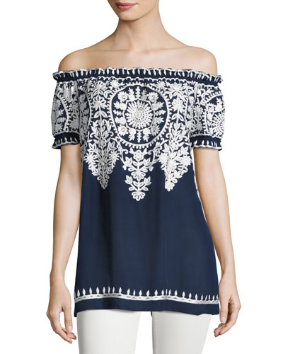 Embroidered Off-the-Shoulder Blouse, Navy/White