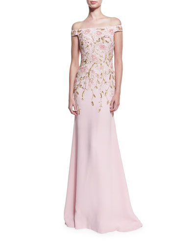 Off-the-Shoulder Floral-Beaded Gown, Pale Pink