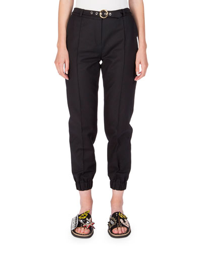 Belted Cropped Cotton-Blend Track Pants, Black