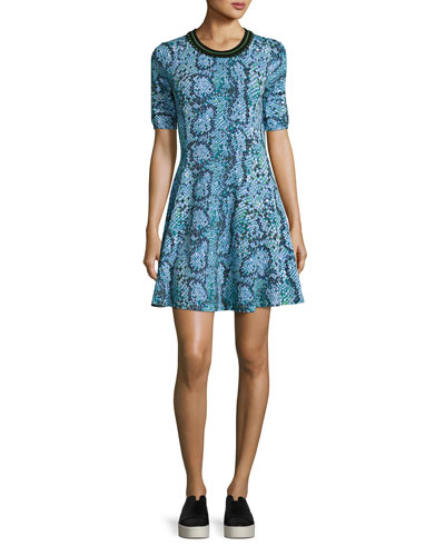 Snake-Print Stretch Jersey Fit-and-Flare Dress, Midnight Blue