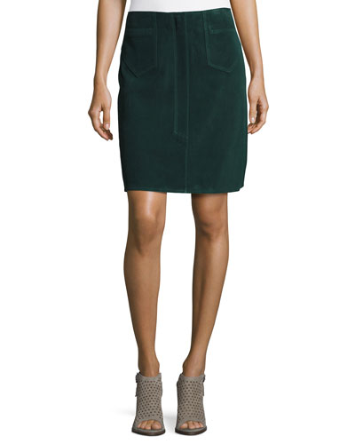 Coda Suede A-Line Skirt, Bottle Green