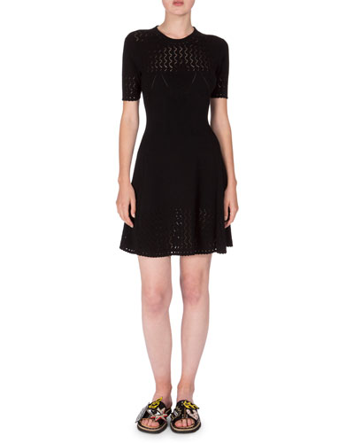 Short-Sleeve Scalloped Fit-and-Flare Dress, Black