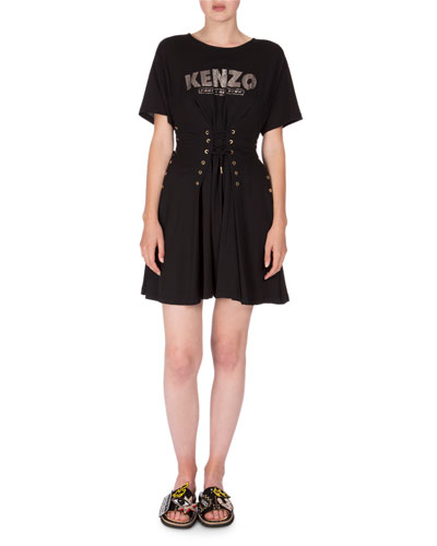 Short-Sleeve Laced Fit-and-Flare Dress, Black