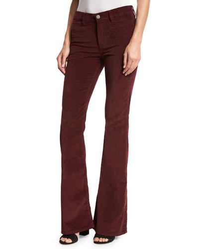 Marrakech Velvet High-Rise Kick-Flare Jeans, Burgundy