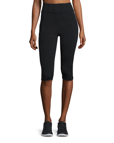 Paneled High-Rise Capri Leggings, Black