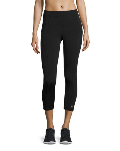 Paneled Mid-Rise Cropped Leggings, Black