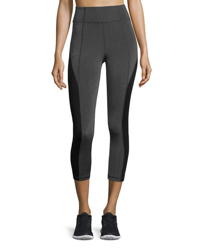Colorblocked High-Rise Cropped Leggings, Gray/Black