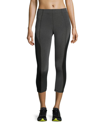 Colorblocked Mid-Rise Cropped Leggings, Gray/Black