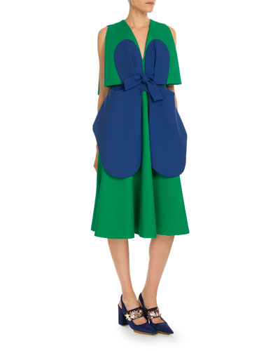 Sleeveless Bicolor Bow Dress, Green/Blue