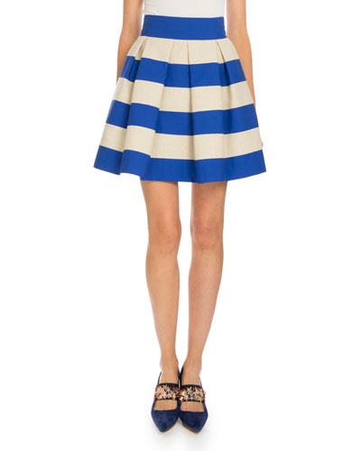 Striped Pleated A-Line Skirt, Natural/Navy