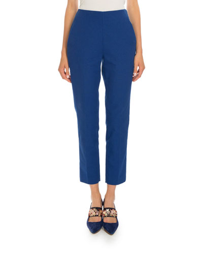 Cropped Straight-Leg Pants, Sapphire Blue