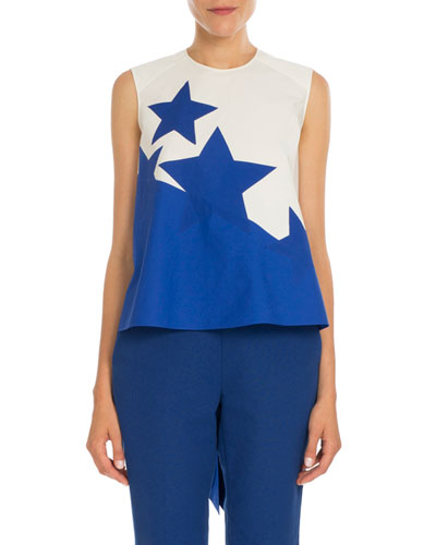 Bold Star-Print High-Low Blouse, Natural White/Blue