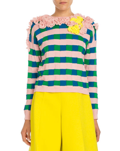 Ruffled Check Pullover Sweater, Pink/Blue/Yellow