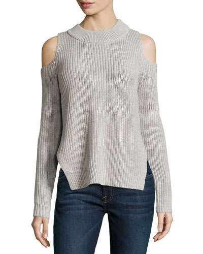 Cold-Shoulder Melange Sweater, Light Gray